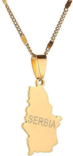FACAIBA Collar de Acero Inoxidable, Color Dorado, Mapa de Serbia, Collares Pendientes, Cadena de Mapa de la República, joyería, Regalos