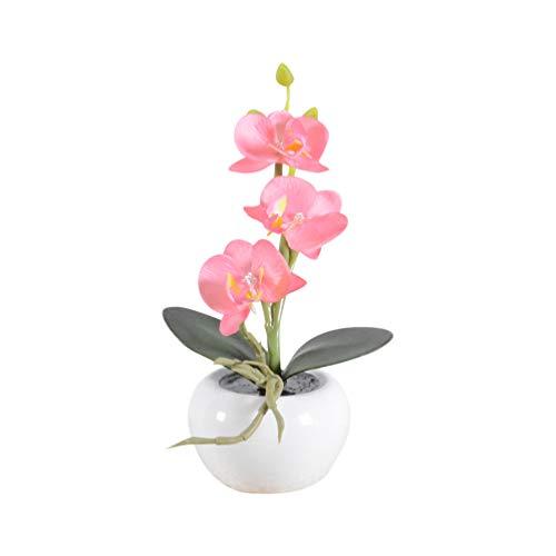Uonlytech Led Leuchten Künstliche Orchidee Phalaenopsis Anordnung Blume mit Blumentopf Seidenblume Lichter Tischdekoration für Das Büro zu Hause Garten