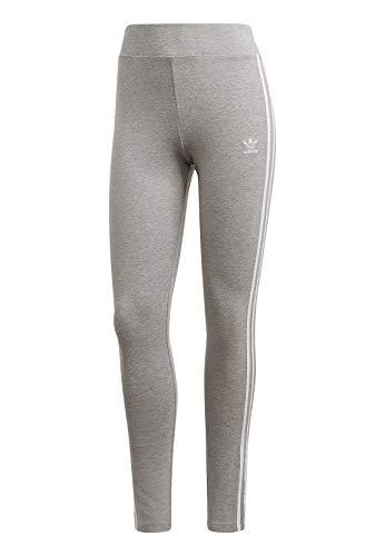 adidas Damen 3-Streifen Leggings, Medium Grey Heather/White, 42
