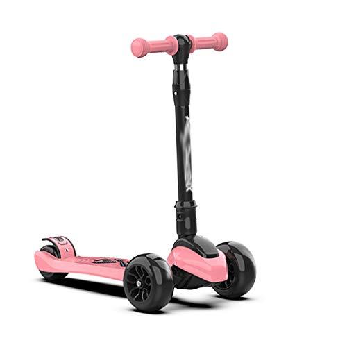 Scooters para Niños Scooters de altura ajustables plegables de un solo clic para niños de 2 a 12 años de edad: scooter plegable con asiento extraíble, 3 ruedas ligeras LED Antideslizante Scooter Patin