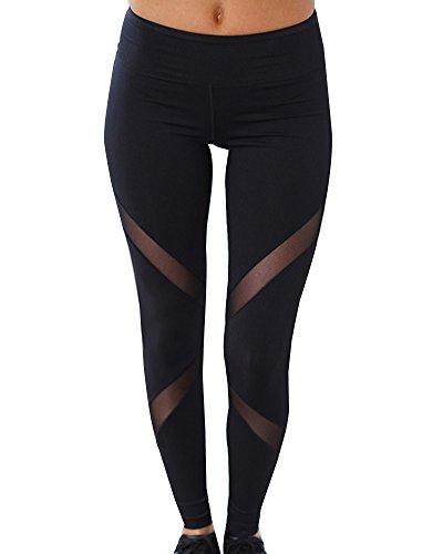 Femmes Elasticite Sports Yoga Taille Haute Pantalons Workout Gym Fitness Leggings Noir S