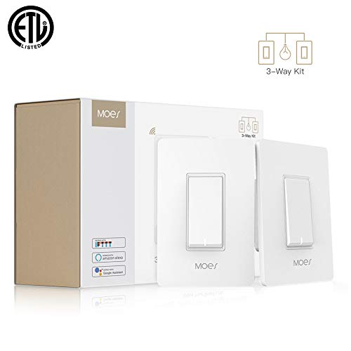 MOES 3 Way WiFi Smart Switch for Light,Compatible with Alexa and Google Home,No Hub Required,Smart Life APP Provides Control from Anywhere,ETL Listed