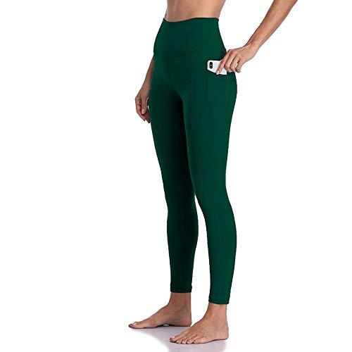 YULINGSTYLE Schwarze High Waist Pockets Leggings Pushing Legging Sport Frauen Fitness Laufen Yoga Hosen Energie Nahtlose Leggings Gym Girl Leggins Weiche Feuchtigkeit Wicking, XL