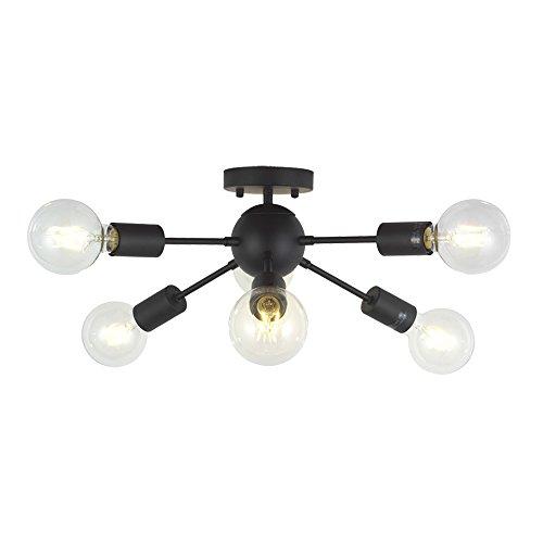 VINLUZ Sputnik 6L Lámpara Techo araña Spider lamparas Vintage colgantes E27, Negro