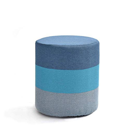 YLCJ kruk, stof, creatief, kruk, voor huis, kruk, deur om te wisselen voor volwassenen, modieuze bank, kleine bank (kleur: bruin, maat: cilinder) Cylindrical Blauw