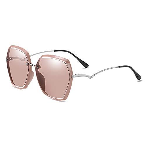 QINGZHOU Gafas De Sol,Gafas De Sol Polarizadas Para Mujer Con Montura Grande, Gafas De Sol Con Montura Grande Retro, Moda, Plata Brillante/Hoja De Té T28