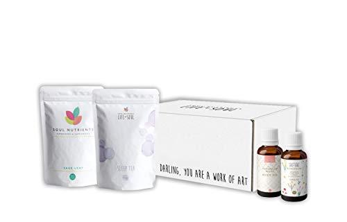 Menopause Health Box- Sage Leaf Tablets, Menopause Body Oil, Sleep Tea, Menopause Unique Essential Oil Blend