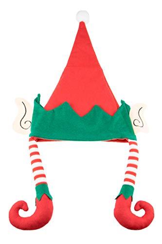 Clever Creations - Gorro de Elfo de Rayas - con Orejas y Bola Blanca - Rojo y Verde - Talla única - 29 x 43 cm