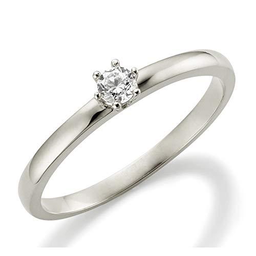 Verlobungsring Weißgold 6 Krappen Ehering Engagement Ring Antragsring Neu in 585 und in 333/375 Weiß Gold Brillant Schliff Zirkonia (9 Karat (375) Weißgold, 49 (15.6))
