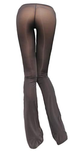 LinvMe Women's Sexy See Through Sheer Long Flare Pants Nylon Tight Legging