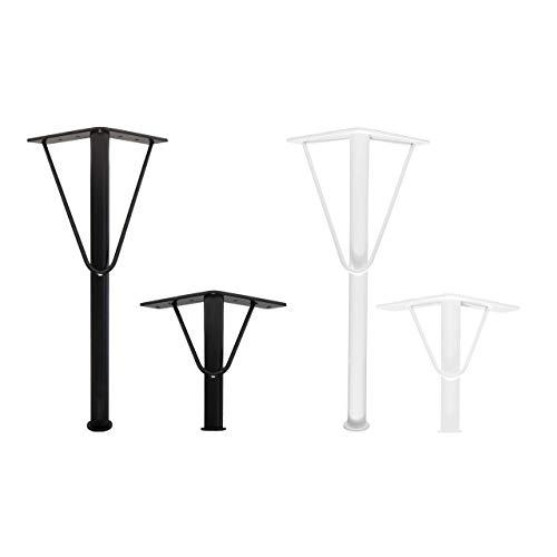 4 patas de muebles Natural Goods Berlin en V, patas de metal con recubrimiento en polvo, base de 4 mm, altura regulable, patas de mesa de café, DIY, (30 cm (mesa baja), color negro