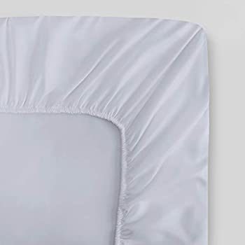 100% Organic Cotton Twin White Fitted Sheet   Sateen Weave   400 Thread Count   GOTS Certified   Soft Silky Shiny   Luxury Finish   Fits Upto 17  Deep Pocket Mattress   Sustainable