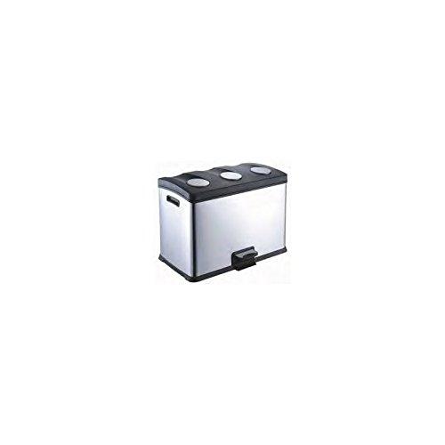 Papelera reciclaje acero inoxidable 3x12L con pedal Medidas: 59x38x43 cm