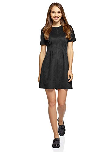 oodji Ultra Damen Kurzärmeliges Kleid aus Wildlederimitat, Schwarz, M