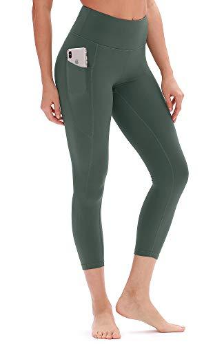 icyzone Damen Hohe Taille Sport Leggings Yoga Pants Sport Hose Jogginghose mit Tasche (XL, Grün)