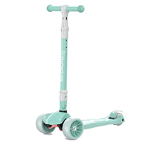 Kick Scooter, Adecuado para niños de 2 a 8 años, Altura Ajustable, Scooter portátil Plegable con Ruedas Luminosas de PU, niños y niñas,Verde