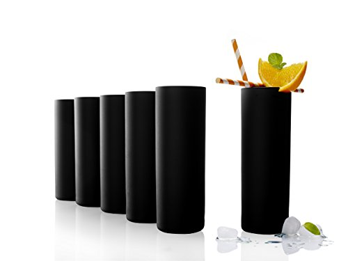 Stölzle Lausitz Campari Becher schwarz, Longdrink-Glas, Serie New York Bar, 320 ml, 6er Set, universell einsetzbar, spülmaschinenfest
