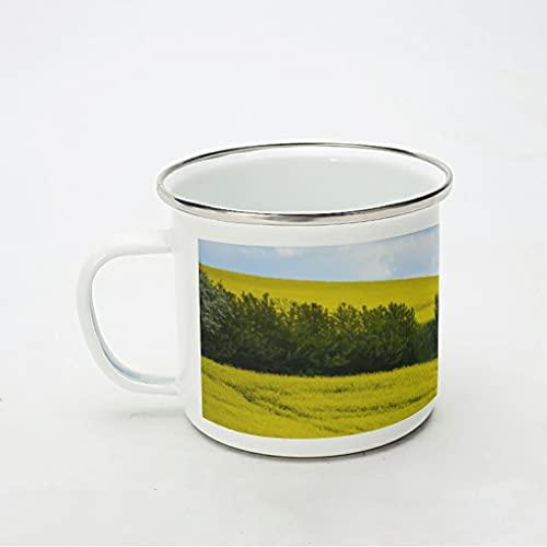 KittyliNO5 Taza esmaltada con diseño de paisaje natural, cielo amarillo, resistente y ligero, idea de regalo para los amantes del café, color blanco, 350 ml