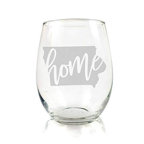 Iowa State Stemless Wine Glass - Iowa Gift, Iowa Wine Glass, Iowa Fan Gift