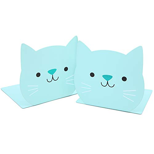 Lovely Cartoon Cat Pattern Kids Bookends Student Book Ends Metal Office Desk School Library Decoration Bookshelf Book Organizer for Christmas Birthday Gift