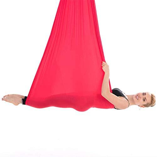 DYJD 18 colores de yoga aéreo Silk Yoga Swing Ultra Strong Antigravity Yoga Hamaca Mejora la fuerza y la flexibilidad de la bala, color rojo