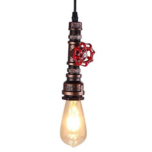 KAWELL Industrial Vintage Lámpara Colgante Luz de Tubo de Agua Lampara de Techo Retro Luz Pendiente E27 Base Hierro para Cafe, Loft, Bar, Restaurante, Estudio, Cocina, Dormitorio, Rust Color