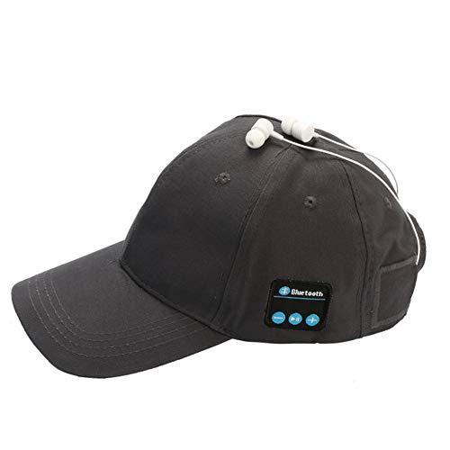 LETAMG Hut Headset Kopfhörer mit Mic Hand-freies Musik Mp3 Sport Smart Kappe Baseball Kappe Headset Sport Hut Bluetooth Hut Kappe (Grau)