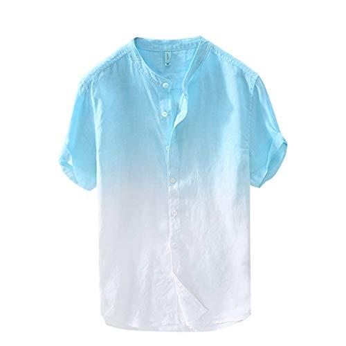Zolimx T Shirt Uomo in Cotone e Lino-Camicie Uomo Lino Vovotrade Allentata Comode E Traspiranti Stile Slim Estivo Slim Grandad Collar Spiaggia Camicie Shirts