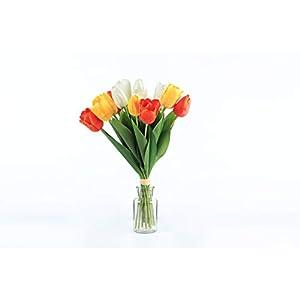 lorient home beautiful realistic artificial 15″ mixed tulip bouquet floral arrangement orange yellow white, 203-017