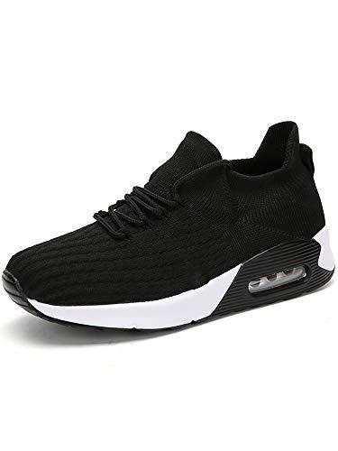 Zapatillas de deporte para mujer, con cojín de aire, atlético, para correr, calcetines elásticos, con cordones, color Negro, talla 38 EU