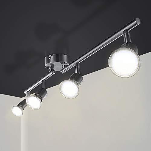 Hengda LED Deckenleuchte Schwenkbar Inkl. GU10 LED Lampen, LED Strahler Deckenlampe Spots Metall Matt Nickel drehbar für Schlafzimmer, Küchen