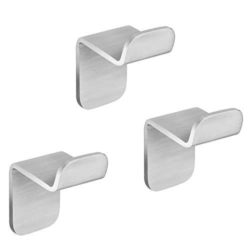 WEISSENSTEIN Set 3 ganci bagno adesivi da parete | Appendini porta asciugamano in acciaio inox argento | 3 ganci 3 x 3,3 x 4,9 cm