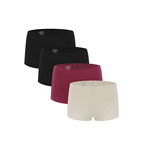 Halcurt Calzoncillos tipo bóxer para mujer, de microfibra, sin costuras laterales, elásticos. 1 Vino Rojo+1 Nude+2 Negro XL
