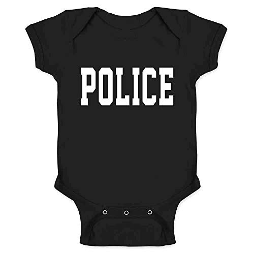 Police First Responder Officer Cop Costume Black 6M Infant Baby Boy Girl Bodysuit