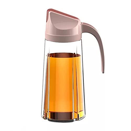 King Style Aceitera Auto Flip Botella de cristal de 630 ml, antigoteo con tapa automática y tapón antigoteo, mango antideslizante para cocina (rosa)