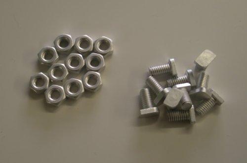 100 bijgesneden kop aluminium bouten met moeren voor kassen