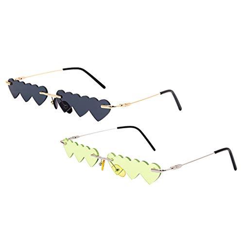 freneci 2PCS Sin Montura Love Heart Gafas de Sol Punk Outdoor UV400 Gafas Gafas de Fiesta