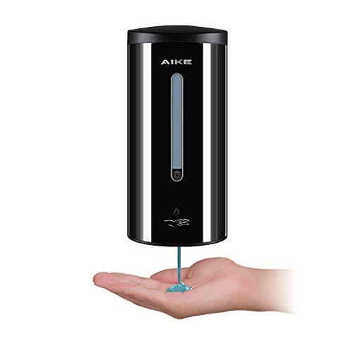 AIKE AK1205 Dispensador de jabón automático de Pared de Acero Inoxidable para baño y Cocina, Negro 700 ml, líquido Ajustable