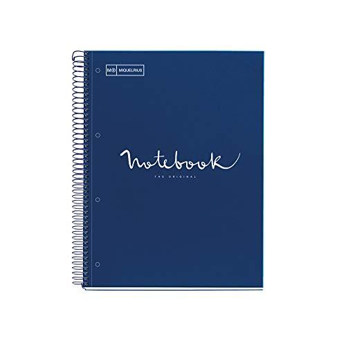 MIQUELRIUS - Cuaderno Notebook Emotions - 1 franja de color, A4, 80 Hojas cuadriculadas 5mm, Papel 90g, 4 Taladros, Cubierta de Cartón Extraduro, Color Marino