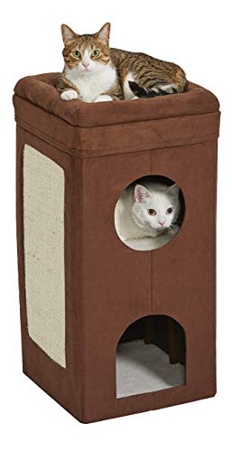 MidWest Homes for Pets Cat Condo | Tri-Level Design in Brown Faux Suede & Synthetic Sheepskin | 14.6L x 14.72W x 30.39H Inches