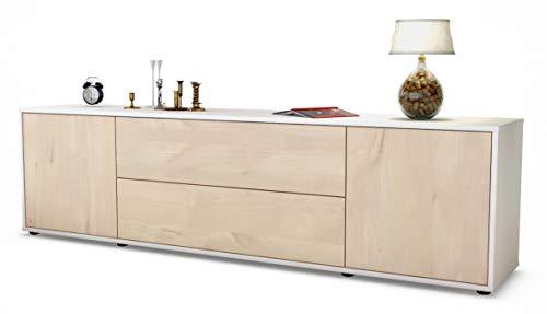 Stil.Zeit TV Schrank Lowboard Aquilina, Korpus in Weiss matt/Front im Holz-Design Zeder (180x49x35cm), mit Push-to-Open Technik und hochwertigen Leichtlaufschienen, Made in Germany