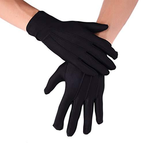 karrychen Men Spandex Black White Parade Gloves Formal Tuxedo Costume Honor Guard Mittens