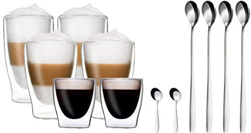 DUOS 6er-Set doppelwandige Thermo-Gläser + 6X Edelstahl-LÖFFEL, 2X 80ml Espresso, 2X 310ml Latte Macchiato, 2X 400ml Longdrink - by Feelino