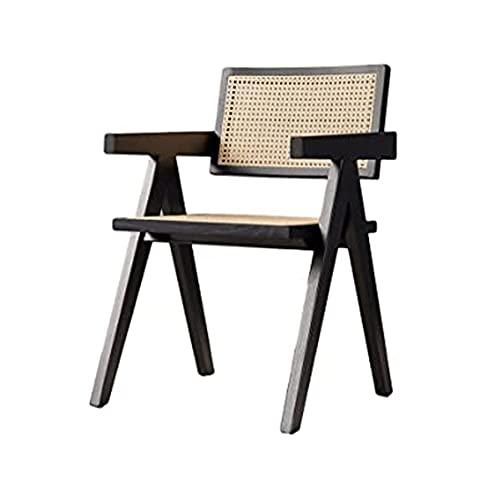 BaiJaC Silla de Comedor de ratán, sillón de Madera Maciza de ratán, cómodo sillón reclinable, para Porche, Patio, césped, jardín, Patio, Piscina, Cubierta (Color : A)
