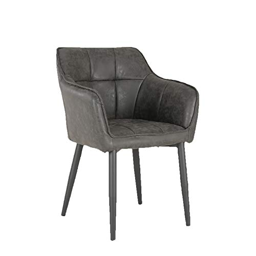 Sofá de sillón de cuero de imitación retro negro claro para sala de estar, dormitorio, hotel con patas de silla de metal