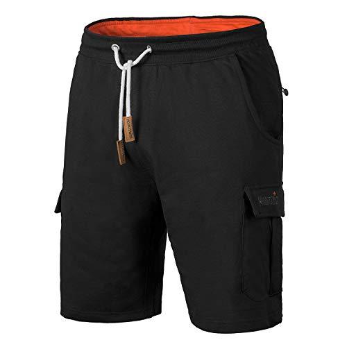Mount Swiss Cargo Shorts Herren I Moderne Cotton Bermuda Shorts für Herren mit 6 Taschen & Klett- BZW. Reiß-Verschluss I Freizeit Cargo Hose Herren kurz in klassischen Farben Größe S - 6XL