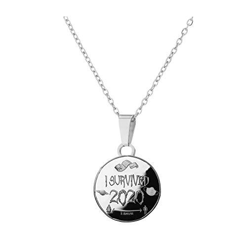 2020 Gedenkmünze Halskette, Damen Halskette Edelstahl mit Anhänger Träger, Geschenk Souvenir Kunst Metall, Love Gold Leicht Modisch Münzen (A)