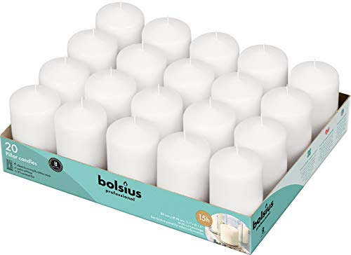 BOLSIUS White Pillar Candles – 2X3 Unscented Candle Set of 20 – Dripless, Smokeless, and Clean...