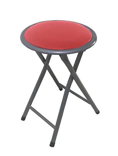 Lemon rojo Taburete plegable metal asiento skai,para cocina, baño, balcón, habitación juvenil. Pack 10 unidades