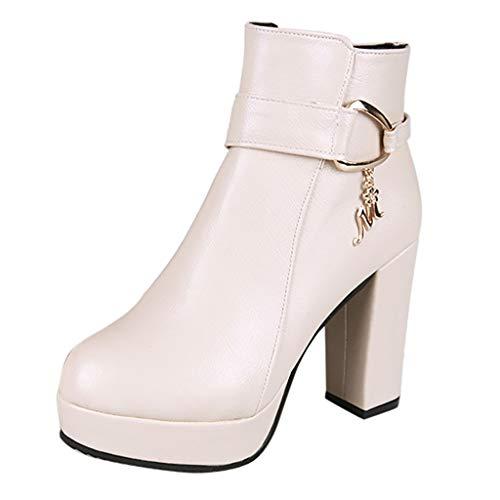 Damen Stiefeletten High Heels Winterschuhe Wasserdicht Stiefel Leder Hochhackige Schuhe Sexy Winterstiefel mit Absatz Party Schuhe